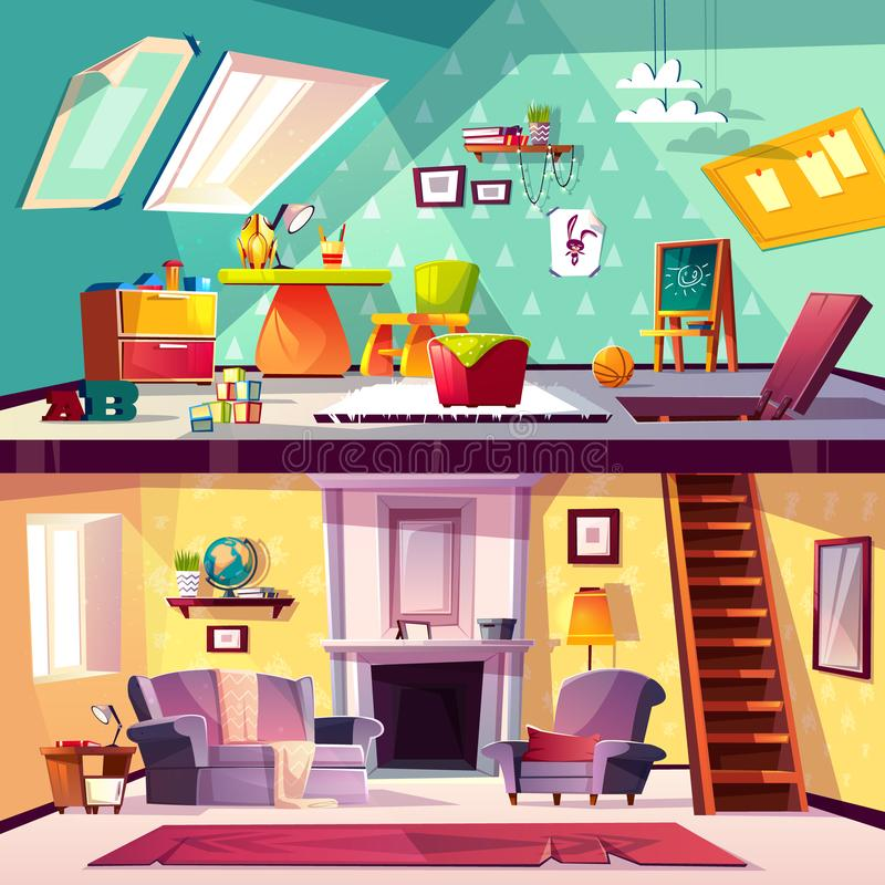 Interior do vetor da sala de jogos e da sala de visitas ilustração do vetor