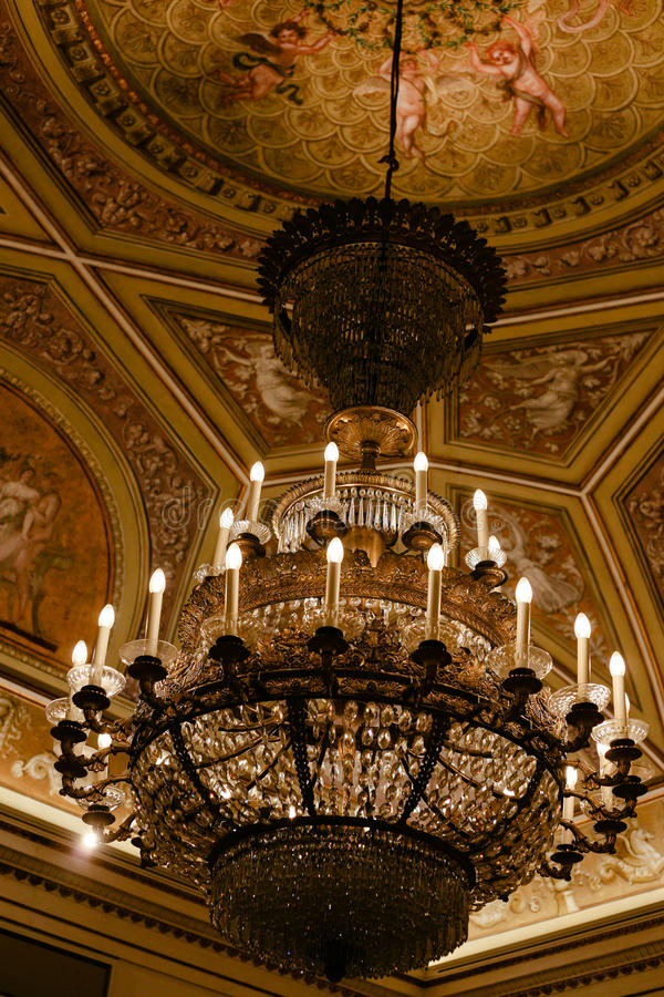 Interior of Doge`s Palace - ceiling and chandelier royalty free stock image