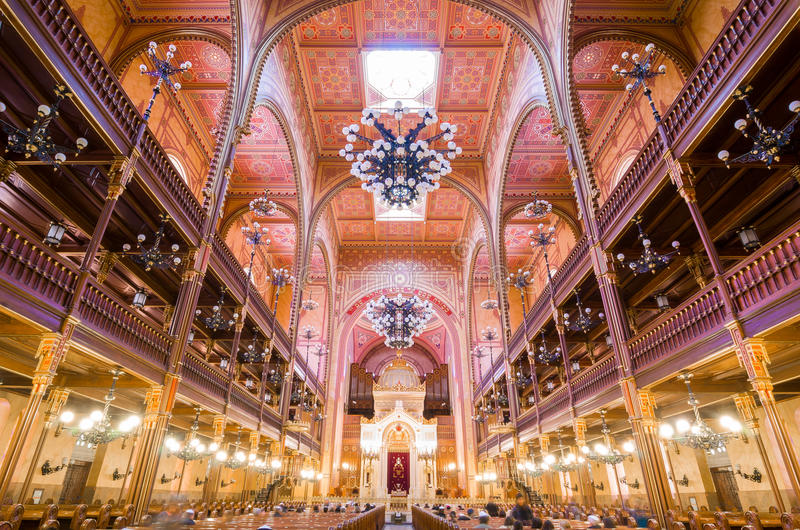 Interior of the Dohany Street Synagogue in Budapest, Hungary. royalty free stock photography