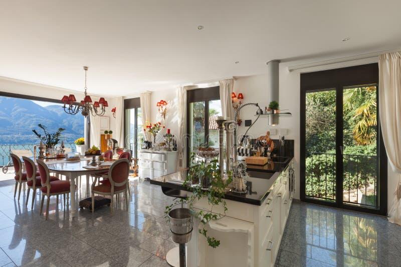 Interior, domestic kitchen. Architecture, interior of a house, modern domestic kitchen stock image
