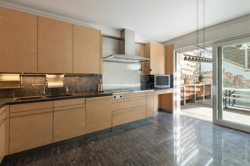 Interior, domestic kitchen. Architecture, interior of modern apartment, domestic kitchen royalty free stock photography