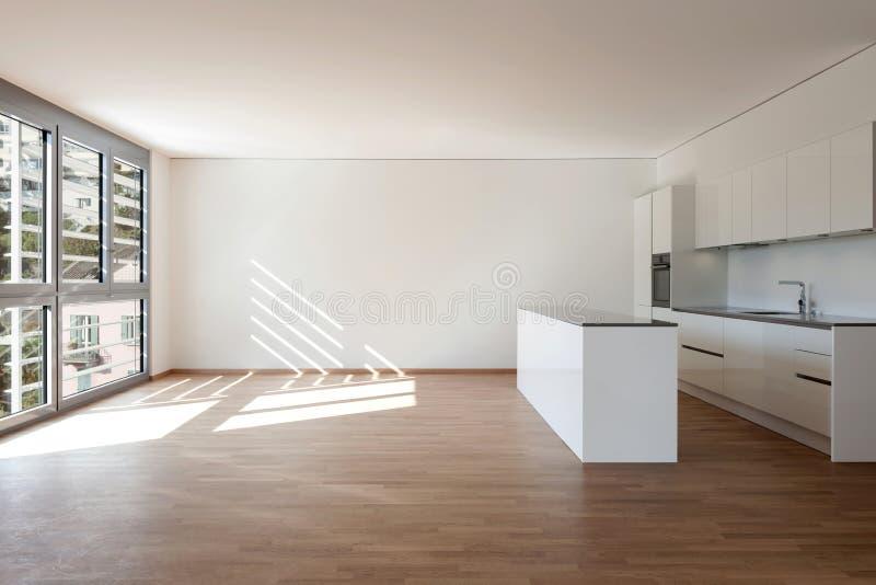 Interior, domestic kitchen. In empty apartment, parquet floor stock photography