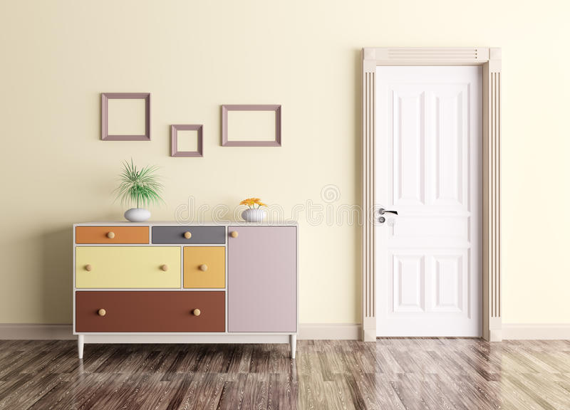 Interior with door and chest of drawers. Classic interior of a room with door and chest of drawers royalty free illustration