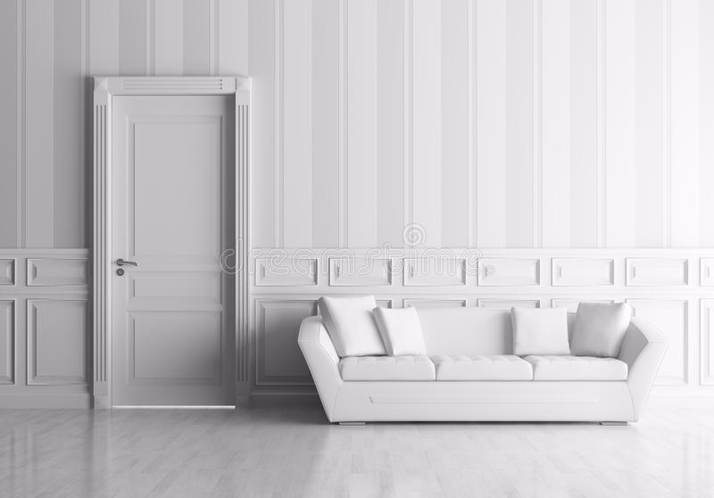 Interior with door and sofa stock illustration