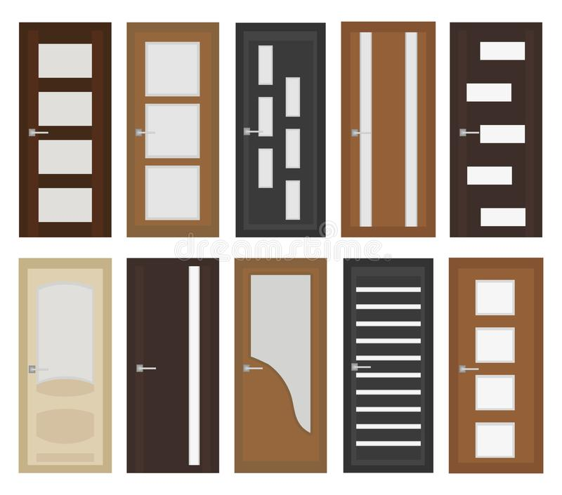Charmant Download Interior Doors Set, Flat Style. Door With Different Types Of  Glass. Isolated