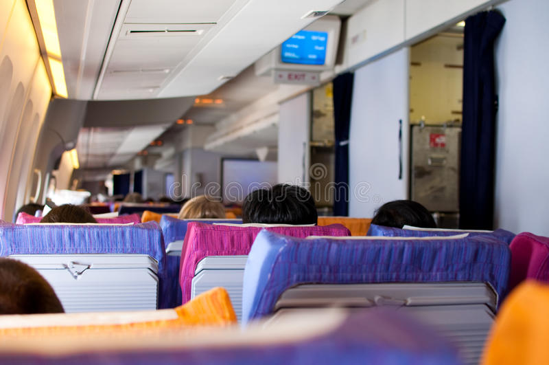 Interior dos aviões foto de stock