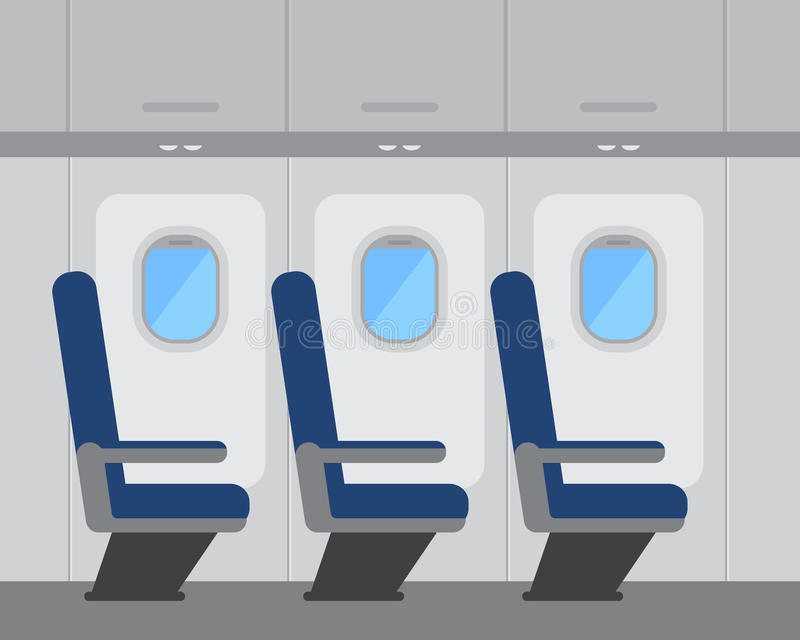 Interior dos aviões com janelas e assentos, ilustração do vetor ilustração stock