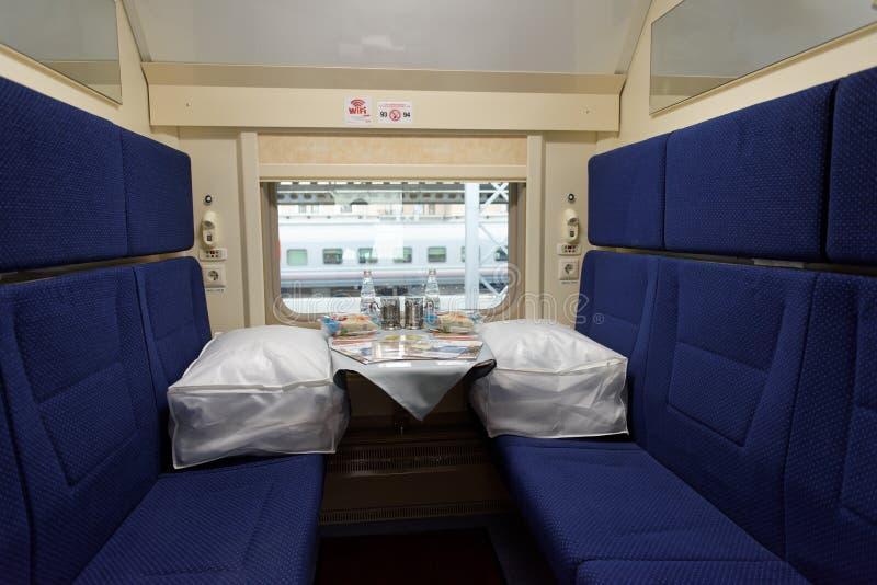 Interior of the double-decker train Mikhail Ulyanov stock photo