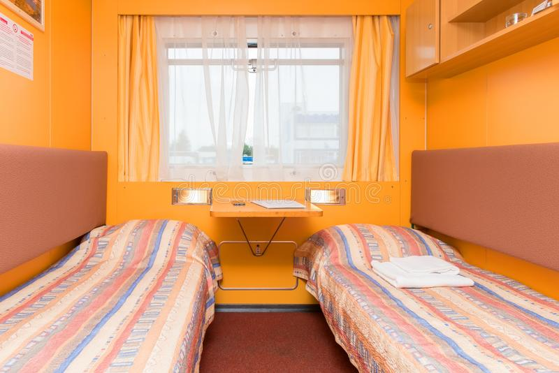 Interior of the double living cabin on a cruise ship royalty free stock image