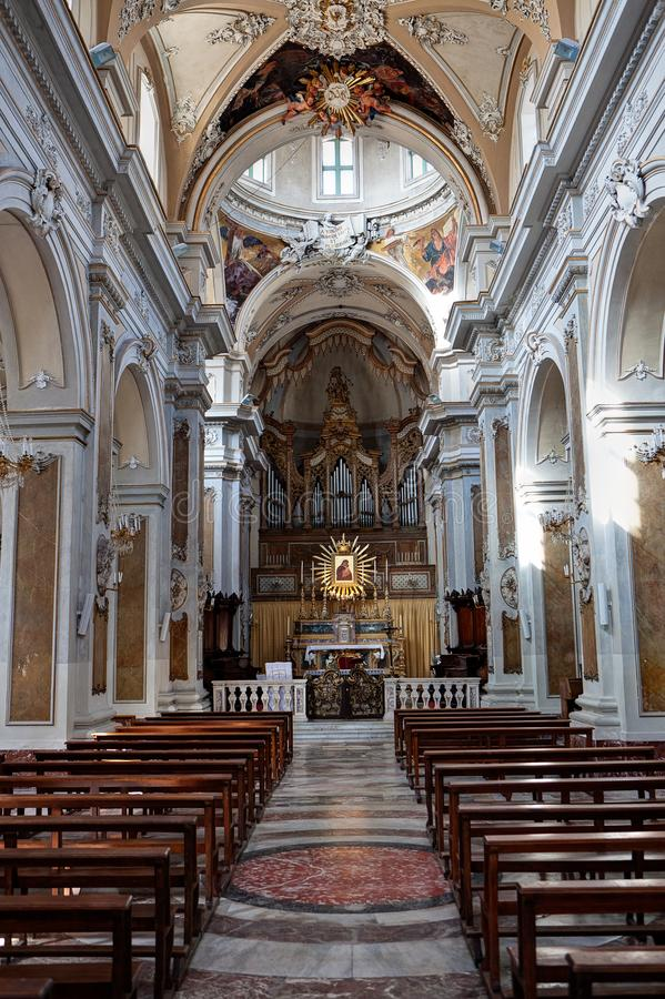 Interior Duomo, Cathedral, Catania, Sicily, Italy stock photography