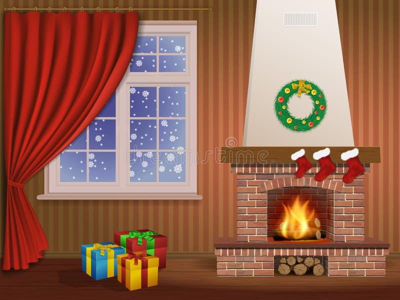 Interior e chaminé do Natal ilustração do vetor