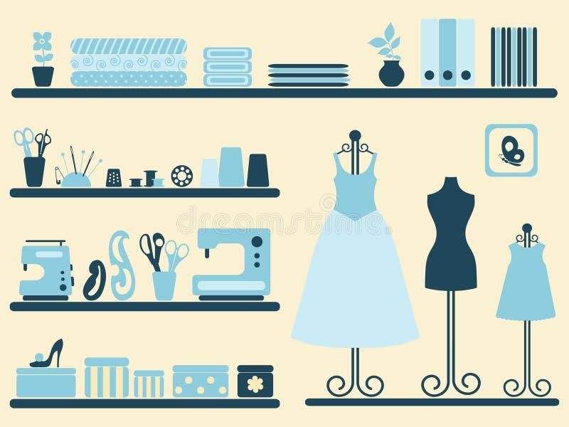 Interior e objetos do quarto Sewing ajustados. ilustração do vetor
