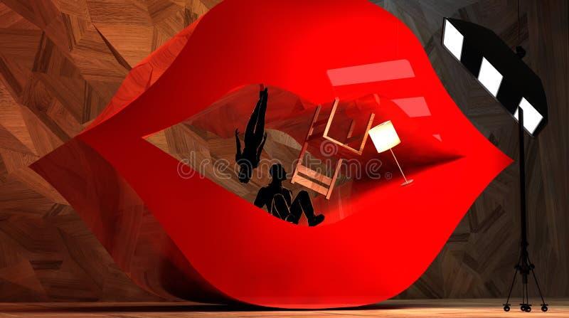 Interior e pares surreais abstratos nos bordos abertos ilustração do vetor