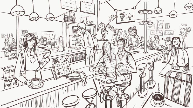 Interior e povos do café no estilo do esboço Conceito moderno do caf? Ilustra??o do vetor ilustração stock