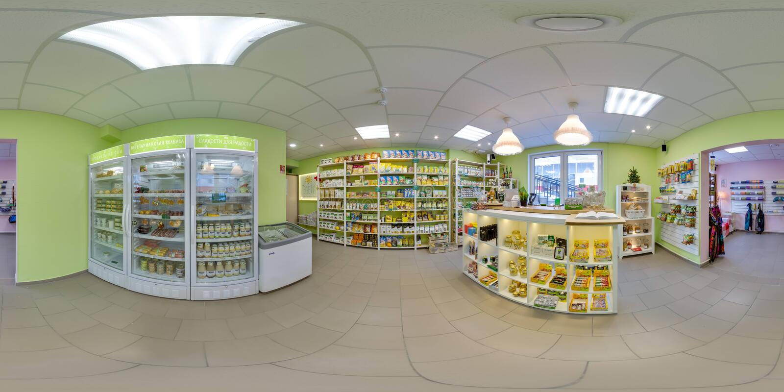 Interior of eco-store with food and fridges. 3D spherical panorama with 360 degree viewing angle. Ready for virtual reality in vr. Interior of eco-store with stock images