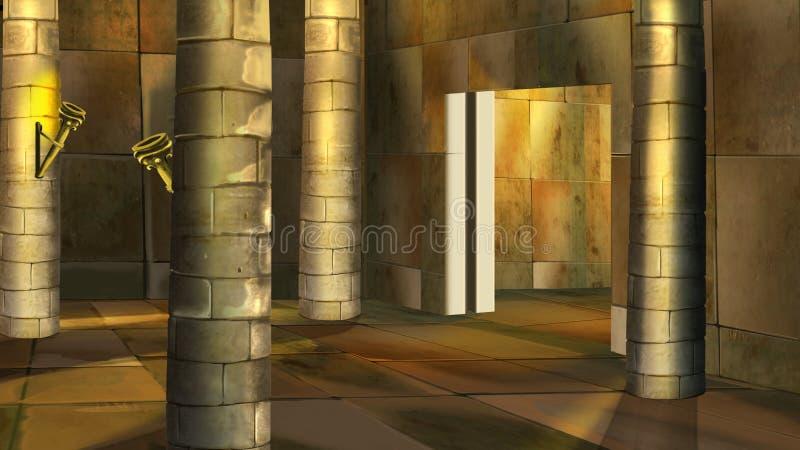 Interior egipcio antiguo del templo Imagen 2 ilustración del vector