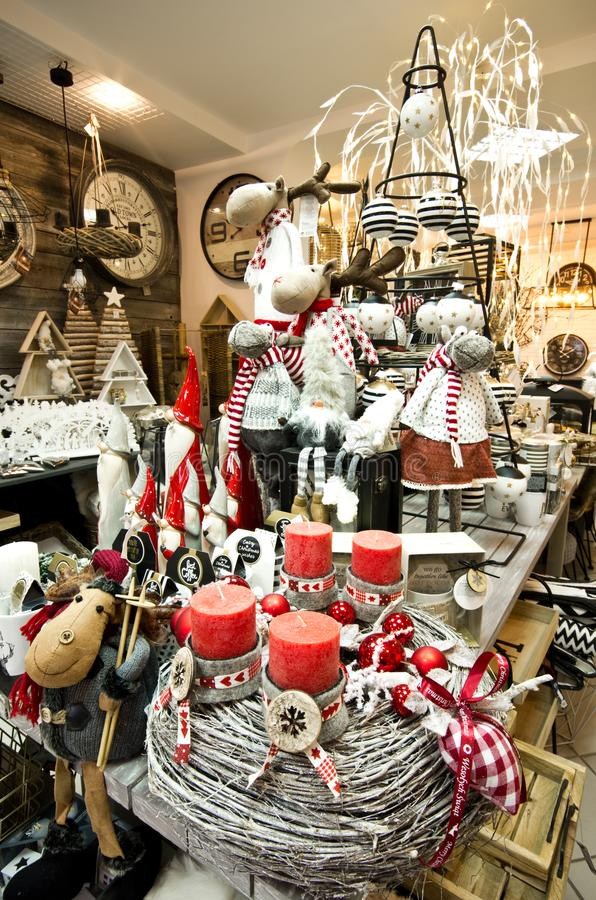 Interior of a home articles shop with Christmas decoratoins royalty free stock photography