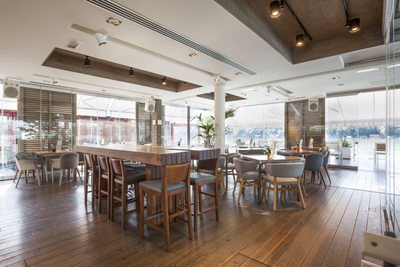 Interior of an elegant riverside cafe.  royalty free stock photos