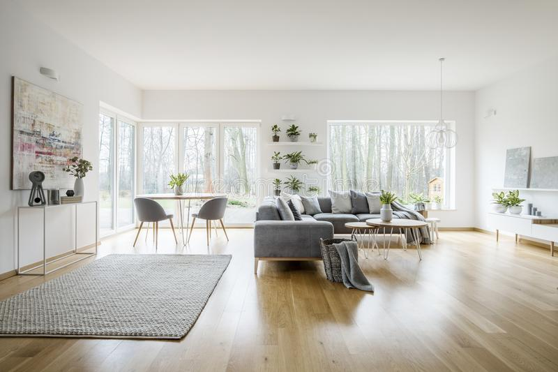 Interior elegante branco da sala de visitas com janelas imagens de stock