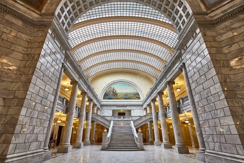 Interior elegante da construção do Capitólio do estado de Utá foto de stock