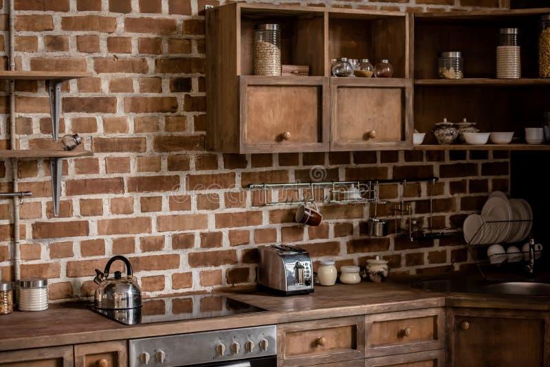 Interior elegante de la cocina imagen de archivo