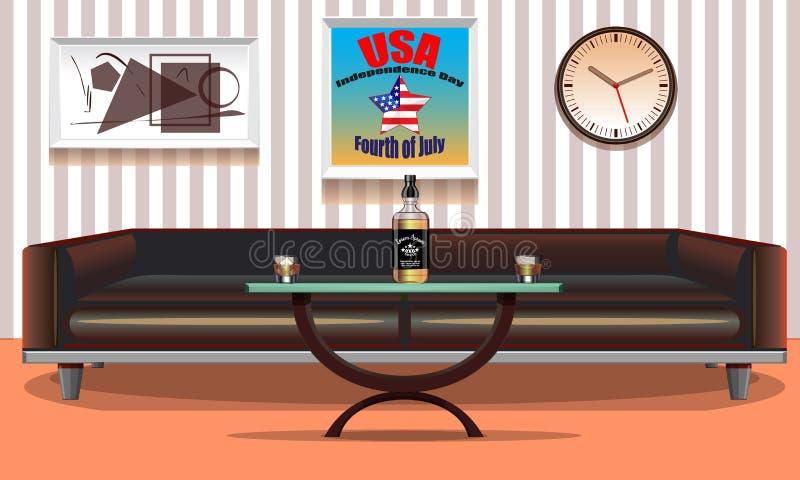 Interior elegante de los E.E.U.U. del cuarto Carteles del arte en la pared el 4 de julio Día de la Independencia Estados Unidos F ilustración del vector