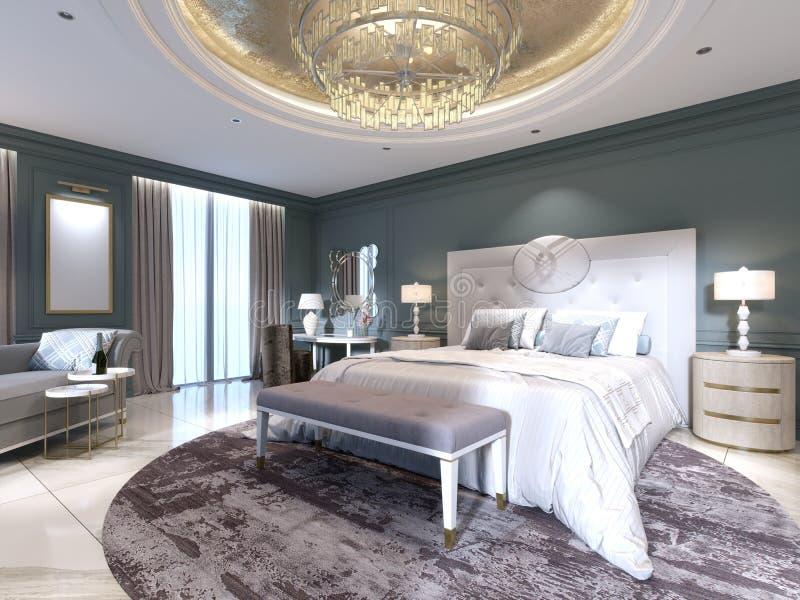 Interior elegante del dormitorio con la cama cómoda grande y sofá con el tocador libre illustration