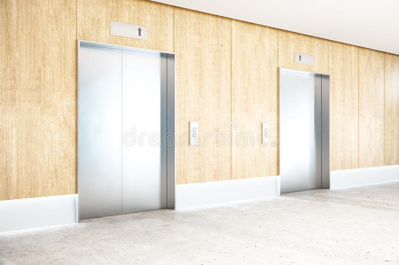 Interior with elevator side. Interior with two silver elevators, wooden wall, concrete floor and ceiling. Success concept. Side view, 3D Rendering royalty free illustration