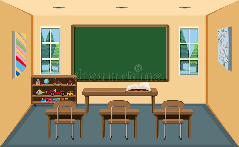 An interior empty classroom royalty free illustration