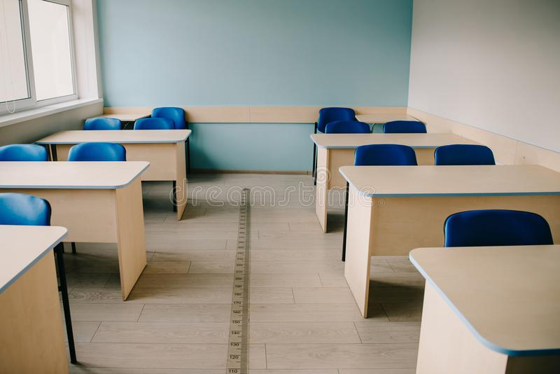Interior of empty classroom. At modern school royalty free stock images