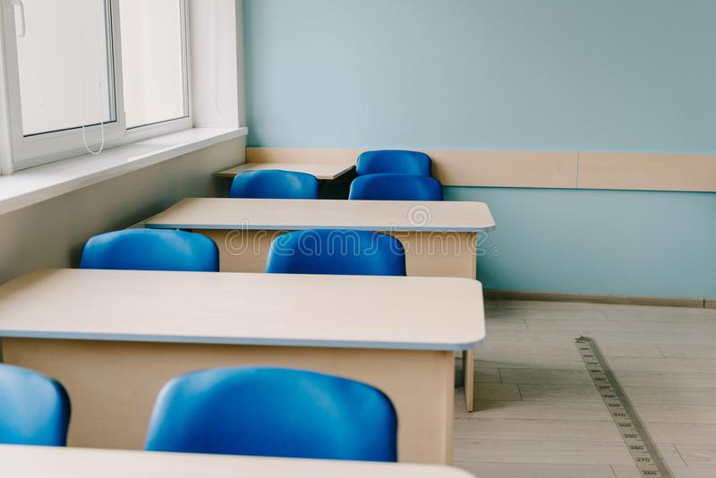 Interior of empty classroom. At modern school royalty free stock photo