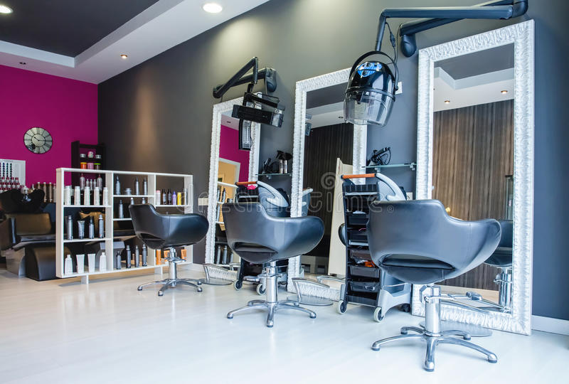 Interior of empty modern hair and beauty salon royalty free stock images
