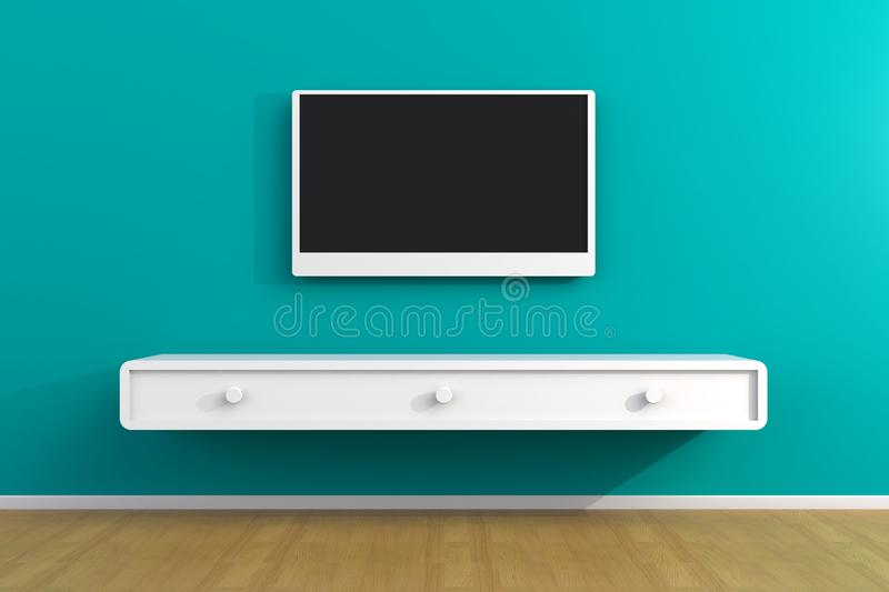 Interior of empty room with TV, Living room led tv on blue wall with wooden table modern loft style stock illustration