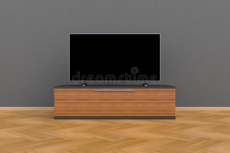 Interior of empty room with TV, Living room led tv on gray wall with wooden table modern loft style vector illustration