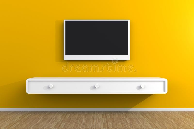 Interior of empty room with TV, Living room led tv on yellow wall with wooden table modern loft style royalty free illustration
