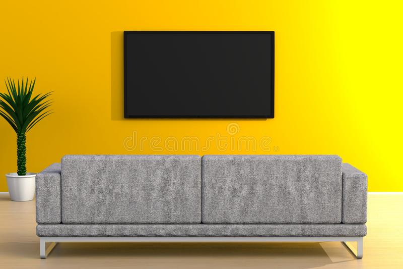 Interior of empty room with TV and sofa, Living room led tv on yellow wall modern style. 3d rendering stock illustration