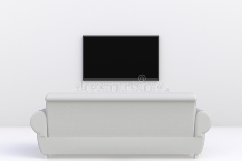 Interior of empty room with TV and sofa, Living room led tv on white wall modern style. 3d rendering stock illustration