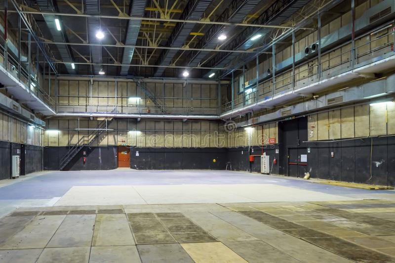 Empty warehouse. Interior of empty warehouse available as posing theater too royalty free stock images