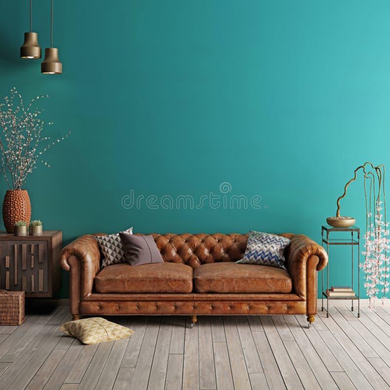 Interior en estilo clásico con el sofá y las lámparas suaves con la decoración ilustración del vector