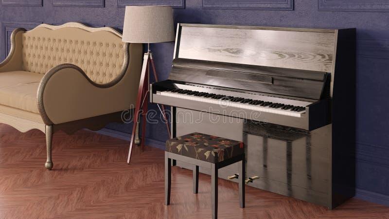Interior en estilo cl?sico Sitio con el sofá, la lámpara del trípode y el piano fotos de archivo
