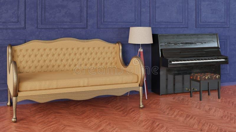 Interior en estilo cl?sico Sitio con el sofá, la lámpara del trípode y el piano imágenes de archivo libres de regalías