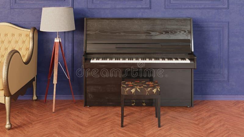 Interior en estilo cl?sico Sitio con el sofá, la lámpara del trípode y el piano fotografía de archivo