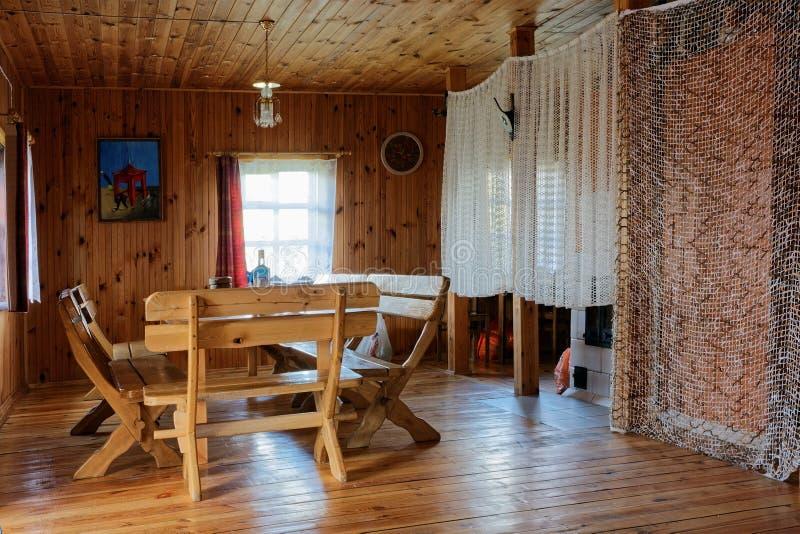Interior en hotel turístico rural de madera foto de archivo libre de regalías