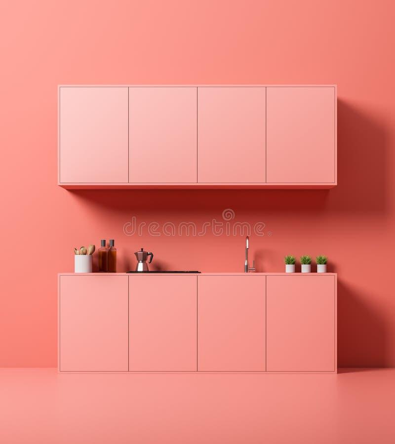 Interior, encimeras y armarios rosados de la cocina stock de ilustración