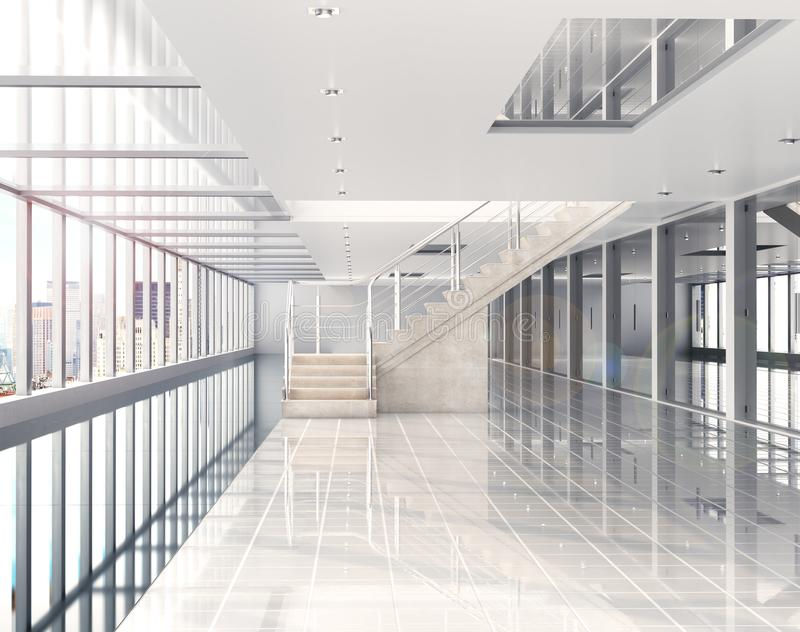 Interior ensolarado com a janela grande à cidade Construção sob o shopping, escritório ilustração 3D ilustração stock