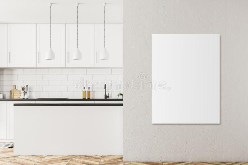 Interior escandinavo blanco de la cocina del estilo, cartel stock de ilustración