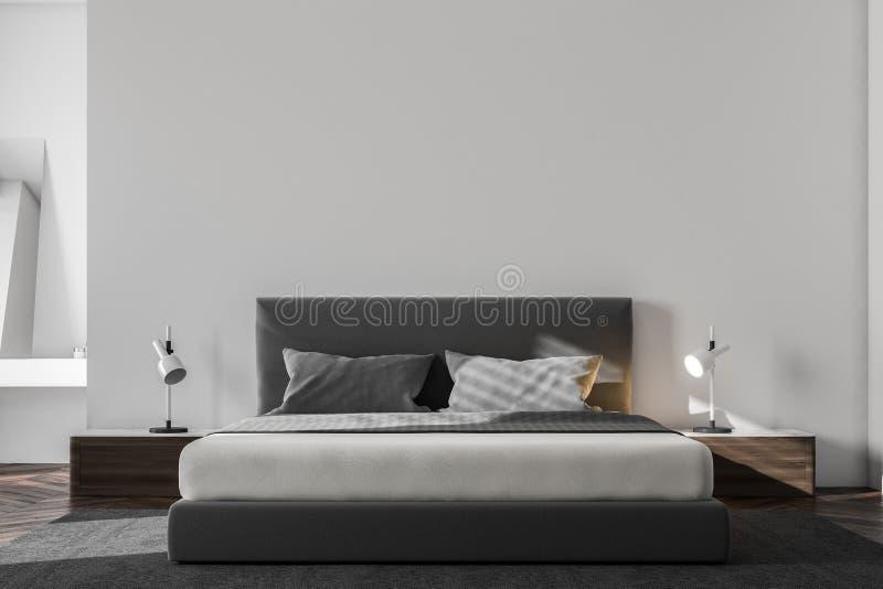 Interior escandinavo blanco de lujo del dormitorio ilustración del vector
