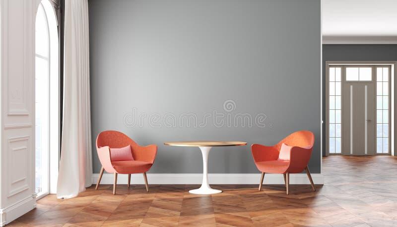 Interior escandinavo del sitio vacío con las paredes grises, el rojo, las butacas rosadas, la tabla, la cortina y la ventana ilustración del vector