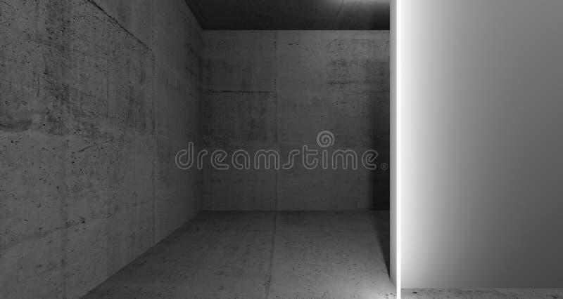 Interior escuro abstrato com o 3d claro de néon foto de stock