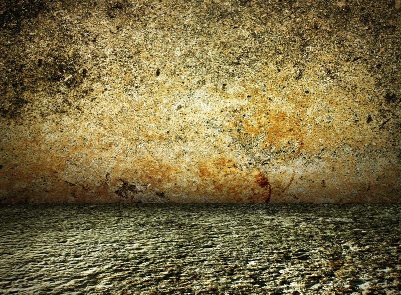 interior escuro da casa rústica do vintage, concreto ilustração stock